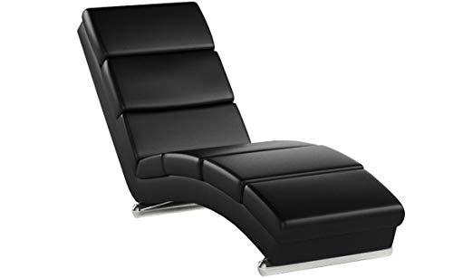 mecor Chaise Longue/méridienne Cuir 154 × 52.5 × 74 cm/Fauteuil Relaxant Moderne Noir