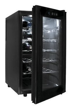Lacor 18 Bottles Line Wine Cooler, Black