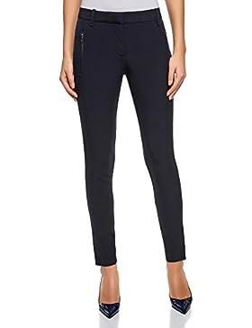 oodji Collection Mujer Pantalones Ajustados con Cremallera