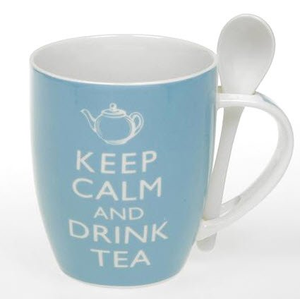 Keep Calm And Drink Tea Mug with Spoon Holder - Boxed fine china Tea mugs - Blue Tea Spoons Set, Dimension 8.5 x 10.1 approx - Tea Cups with Spoon - Elegant Tea Spoon rest ceramic with matching Box