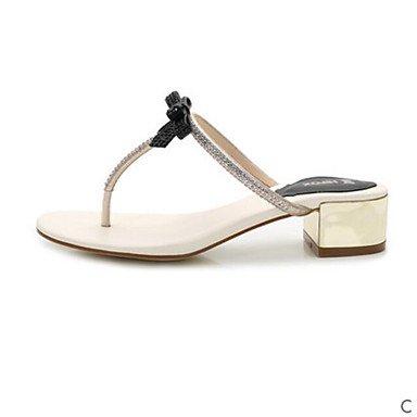 RUGAI-UE Estate Moda Donna Sandali Casual PU scarpe tacchi comfort,Black,US6 / EU36 / UK4 / CN36 White