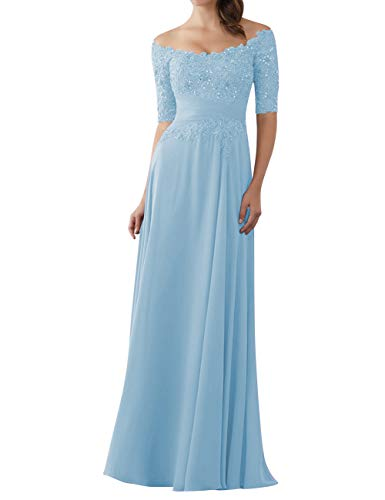 """Brautjungfernkleider Elegant Bodenlang 1/2 Ã""""rme Abendkleider A-Linie Brautmutter Kleider Hochzeit Partykleid Hell blau 40"""