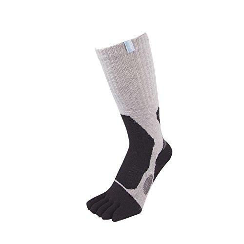 Toe Toe Toetoe–Outdoor–3D Wolle Terry Walker Zehen Socken (UK 6–8,5| EU 40–43, Schwarz & Grau)