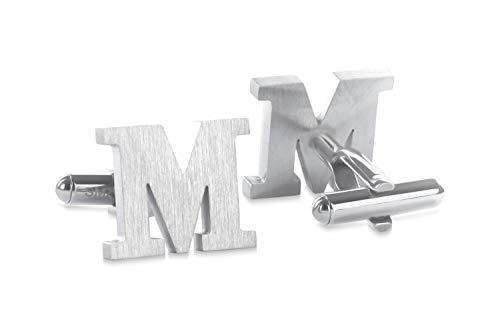 SMARTEON® Manschettenknöpfe für Herren | Premium Buchstaben A-Z | Silber & Schwarz aus hochwertigem Edelstahl in mattem Design | Elegante Cufflinks in einem edlen Geschenk-Set (M - silber)