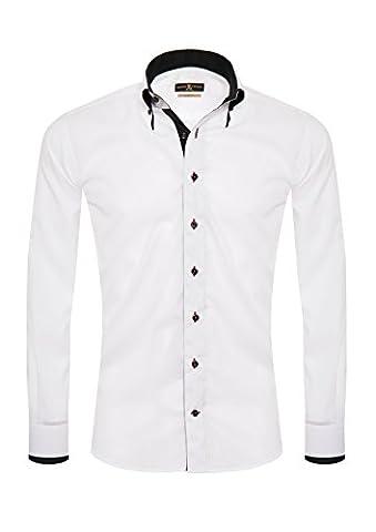 Giorgio Capone Herrenhemd, 100% Baumwolle, weiß, Doppelkragen, Langarm, Slim & Regular Fit (M (Easy Care Leinenhemd)