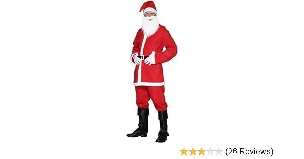 SANTA SUIT HOODED COAT BELT BEARD CHRISTMAS FANCY DRESS COSTUME SANTACON OUTFIT