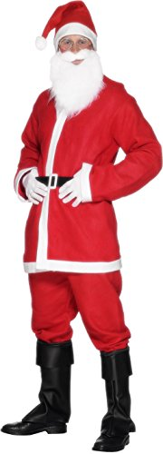 Smiffys Men's Santa Suit Costume, Jacket, Trousers, Beard, Hat & Belt, Size:L, Colour: Red and White, 20841