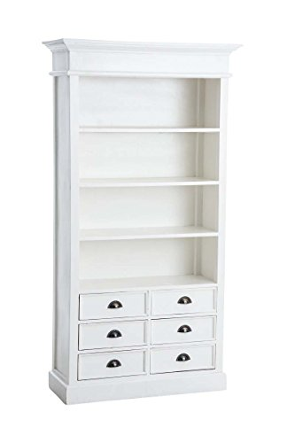 CLP Bücherschrank PERCY aus Mahagoni-Holz, Bücherregal im Landhaus-Stil, Holz-Regal mit 6 Schubladen, 3 Einlegeböden, ca. 100 x 40 cm, Höhe 190 cm, Weiß (Bücherschrank Schubladen)