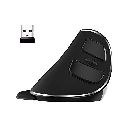 JTD Mouse wireless, mouse verticale ergonomico mouse ottico 600/1000/1600 dpi con staccabile per il palmo per ufficio (non per gaming) - ridurre mano/polso dolore