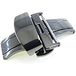 JRRS7777 24mm Stainless Steel Butterfly Deployment Watch Strap Titanium Buckle Wristband Highly Polishing