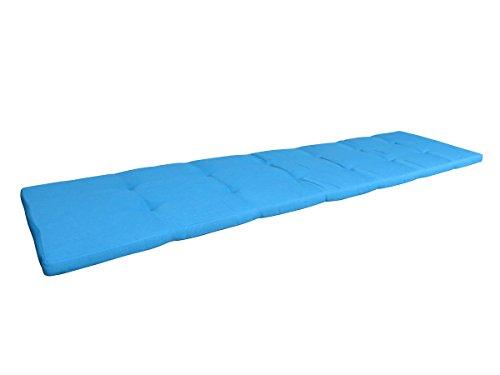 Balke Luxus 4-Sitzer Bankauflage 'Rips Petrol 180', ca. 180x45 cm, uni hellblau strukturiert