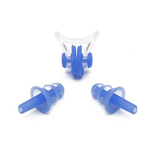EASE Wasserdicht Schwimmen Silikon Kordel Ohrstöpsel Nasenklammer Schwimmen und Nase Clip Set Ohr Stecker, blau