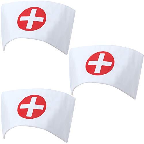 3 Kostüm Kopf Stück Krankenschwester - Krankenschwester Mütze Stirnband Drucken Kreuz Krankenschwester Kostüm Mütze Weiß Krankenschwester Kappe für Halloween Cosplay Party Kostüm Zubehör (3 Stücke)