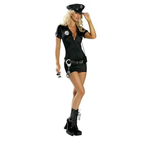 (- Kostüm Polizist für Damen Frauen–Polizist–Schwarz–Cap, Kleid, Gürtel, Abzeichen, Handschellen ideal für Halloween Kostüm Fasching Party Damen Atmosphäre spéctacle costumerie, schwarz)