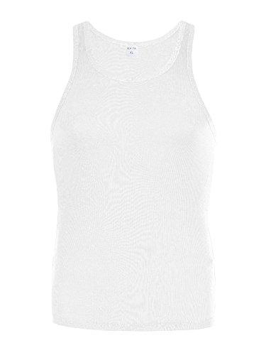 M453 NEW PIN Herren Muskelshirt Tank Top ärmellos Shirt Slim Fit Weiß
