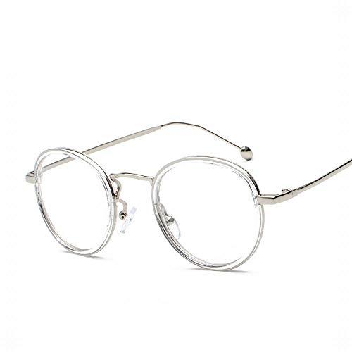 Easy Go Shopping Retro Runde Brillenfassung Brillenglas Brillenglas, Breite 47mm. Sonnenbrillen und Flacher Spiegel (Farbe : Silver/Clear Frame)