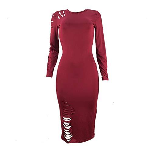 TEFIIR Kleid für Frauen, Zurück zu Schulsachen Langarm Einfarbig Loch Elastisch Lässig Rundhals Lose Größe Geeignet für Freizeit, Dating, Strandurlaub