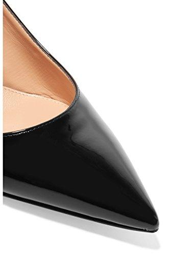 EDEFS - Donna Scarpe col Tacco Gattino - Stiletto tacco 6.5 CM - Mid Heel Scarpe con cinturino dietro la caviglia Nero