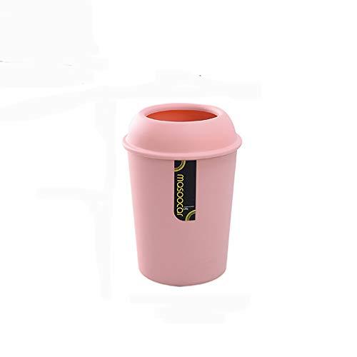 GYZS Kreatives Papier mit Deckel-Plastikbüro-Badezimmer-Auto-großem Größen-Kasten-Runden Abfalleimer-Ausgangsim Freien (Farbe : Pink, größe : XL)