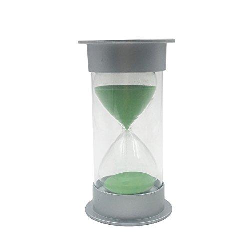 WINOMO Einfacher Zylinder Sand Sanduhr 30 Minuten Kunststoff Sicherheit Sand Timer Sanduhr Sanduhr Geschenke (Silber und Grün)