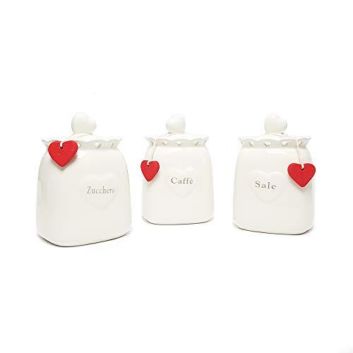 Lovely Set Barattoli Contenitori in Ceramica con Coperchio Ermetico Porta Sale Zucchero caffè, Bianco, H17 Cm