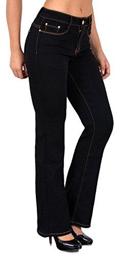 ESRA Damen Jeans Bootcut Jeanshose Boot-Cut Hose bis Übergröße 50, 52, 54 J111