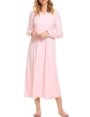 frauen nachthemd langarm baumwolle spitze rosa 38