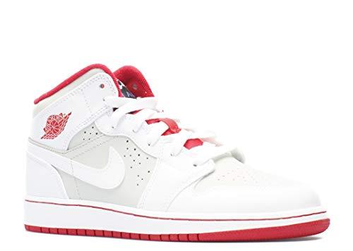 Nike Jungen Air Jordan 1 MID WB BG Turnschuhe, Rot/Schwarz (Weiß/Wahre Red-Lght Silber-Blk), 38 1/2 EU (Mid Nike Rot 1 Air Jordan Weiß)