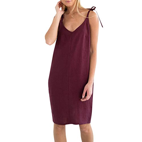 Lialbert Freizeitkleid Baumwolle Camisole-Kleid Dame SchnüRung RüCkenfrei Swing-Kleid Tunika V-Ausschnitt A-Linie Kleider Rot