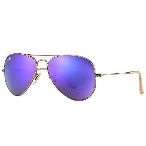 Ray-Ban Unisex Sonnenbrille Rb 3025 Mehrfarbig (Gestell: Bronze/Kupfer, Gläser: grau verspiegelt lila 167/1M)), Large (Herstellergröße: 58)