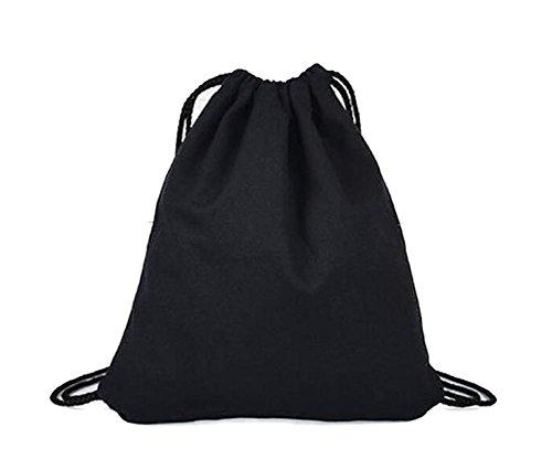 Laat foldble 10Gebündelte Paket Unisex Baumwolle Leinen Pull Rode Tasche Tote Schulter Handtasche Herren Damen Rucksack Travel Säcke Sport Schulranzen Gym Bale 9Farbe, schwarz (Unisex Schwarz Kordelzug)