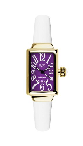 Glam Rock Art Deco Collection Women's Quartz Watch with Purple Dial Analogue Display and White Silicone Strap 0.96.2972