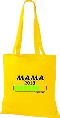 ShirtInStyle Stoffbeutel Baumwolltasche MAMA 2018 Loading Geburt Geschenk Gelb