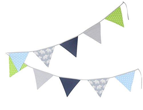 ULLENBOOM ® Wimpelkette Elefant Blau Grün (Stoff-Girlande: 3,25 m, 10 Wimpel, Deko für Kinderzimmer & Baby Geburtstage, Motiv: Sterne)