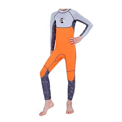 EUCoo_ Wetsuit Neoprenanzug für Kinder, 2,5 mm warme, ultraviolette Quallen-Langarm-Badebekleidung mit langem Schlauch(Orange, M)