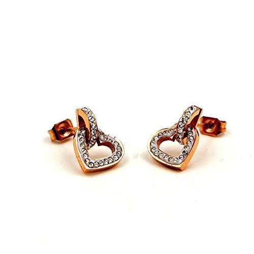 GLJIJID Mode Super Flash D Ding Herz Doppelring Rose Gold Ohrstecker, Personalisierte Herzförmige Gold Ohrringe Rose - D Hunde Alle Kostüm
