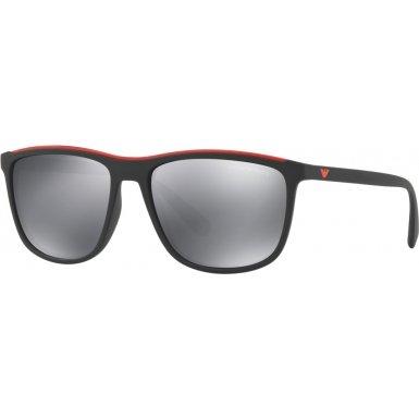 Emporio Armani zweifarbige quadratische Sonnenbrille in Mate schwarz rot EA4109 50426G 57 matt schwarz - rot
