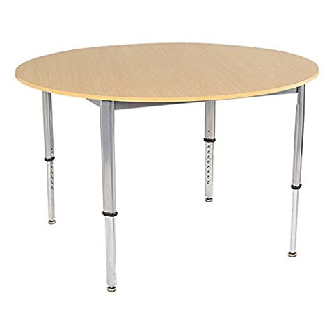 School Outfitters LNT-INM1048RSM-SO Learniture Adjustable-Height Round Planning Table, Sugar Maple, 48