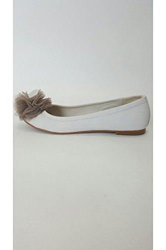 Verdon VT Collection Traffic People Beige scarpe da ballerina con fiore, Beige (crema),