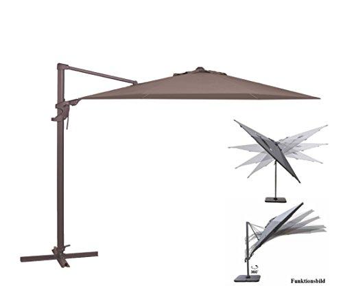Madison Ampelschirm Monaco Flex 330 cm in taupe greige inklusive Ständer, sowohl axial als auch am Mast verstellbar, UV-Schutz 50 Plus