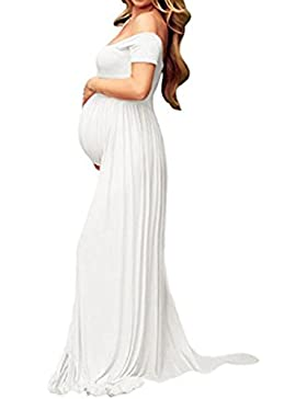 Hopeverl Vestido de algodón de estiramiento de maternidad Split Front Fotografía Maxi Vestido de foto embarazada