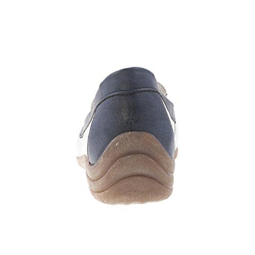 Remonte D6211 80 Dinka Weiss Blau Leder Slip Auf Schuh Weiss