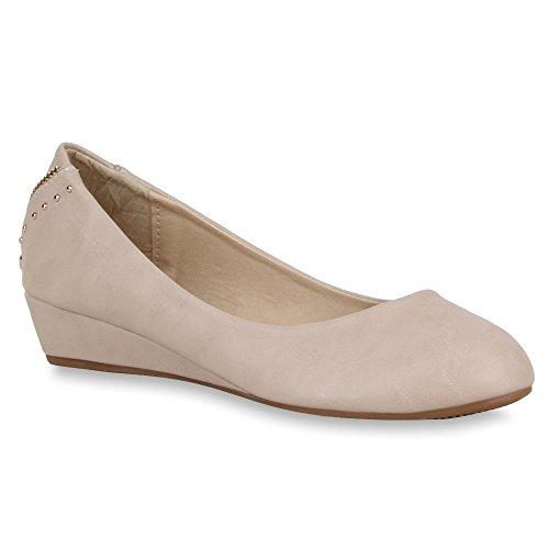 Stiefelparadies Damen Keilpumps Nieten mit Keilabsatz Schuhe 55476 Khaki 38 Flandell
