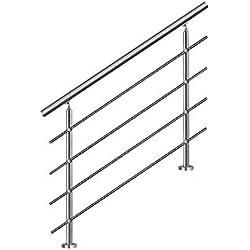 MCTECH® 150cm Garde-corps en acier inoxydable Rambarde Main Courante Rampe d'escalier 4 poteaux traverses pour escaliers, balcon, balustrade