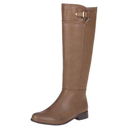 Damen Schuhe STIEFEL LEDEROPTIK BOOTS Khaki