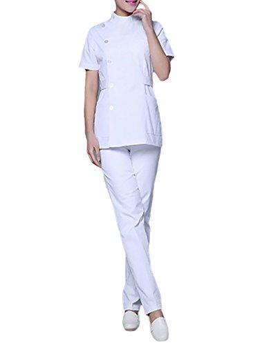 THEE Unisex Schlupfkasack Schlupfjacke+Schlupfhose Set Medizin Arzt-Uniform Chirurg Berufskleidung Krankenschwester Kasack Bekleidung (S, Weiß) -