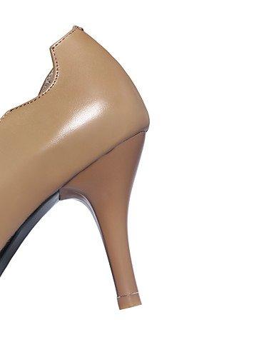 WSS 2016 Chaussures Femme-Bureau & Travail / Décontracté-Blanc / Kaki-Talon Aiguille-Talons / Bout Carré-Chaussures à Talons-Cuir white-us5 / eu35 / uk3 / cn34