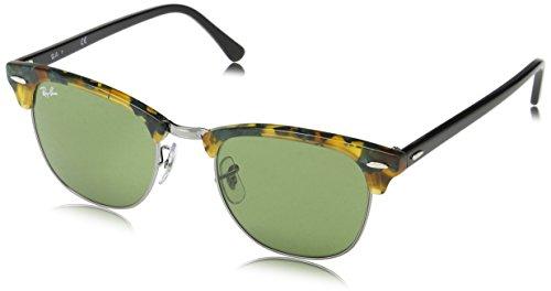 Ray Ban Unisex Sonnenbrille Clubmaster, Mehrfarbig (Gestell: Havana/Schwarz, Gläser: grün Klassisch 11594), Large (Herstellergröße: 55)