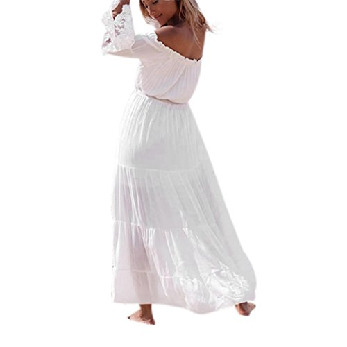 Tonsee Femmes Sexy Strapless Beach Summer Long Robe de plage Robes Blanc