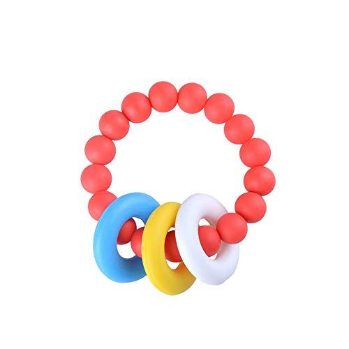 Nicetruc Baby Schmerzlinderung Beißring Baby-Beißring Baby Zahnen Relief-Korn-Armband-Silikon Beißring Baby Zahnen Armband Red -
